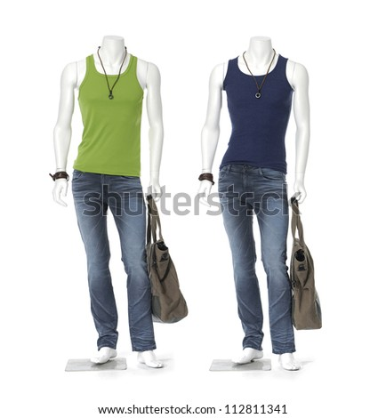 Full length two male mannequin in jeans with bag