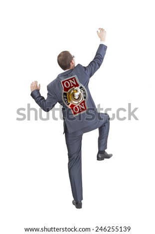 Full length View Businessman robot with power on off switch in back scramble up Isolated on white background Motivation for white collar manager and boss idea concept  - stock photo