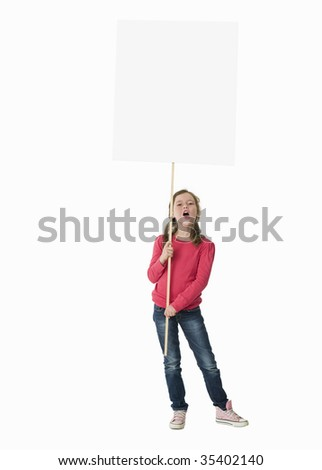 Full-length view of young girl holding large white placard - stock photo