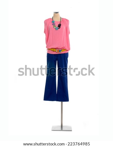 Full length Woman clothes on mannequin isolated   - stock photo