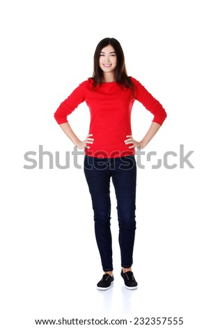 Full length woman posing with hands on hips. - stock photo