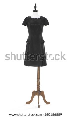 full-length women evening dress on a dummy isolated   - stock photo