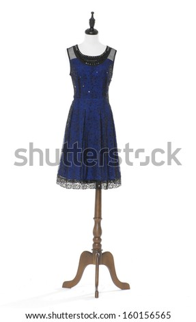 full-length women evening dress on a dummy isolated