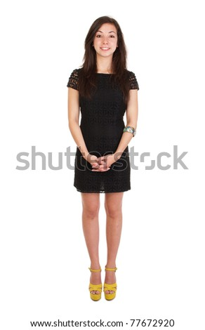 full length 18 years old young woman in black dress ready for night out  (isolated