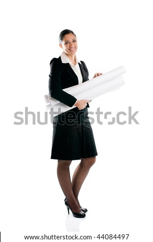 Full length young architect woman with plans isolated on white background