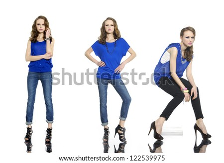 Full length young beautiful stylish three girl in jeans posing - stock photo