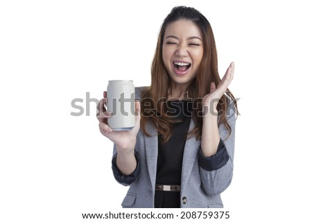Full length young business woman pretty beautiful attractive cheerful presenting grey a can of soft drink on white background. - stock photo
