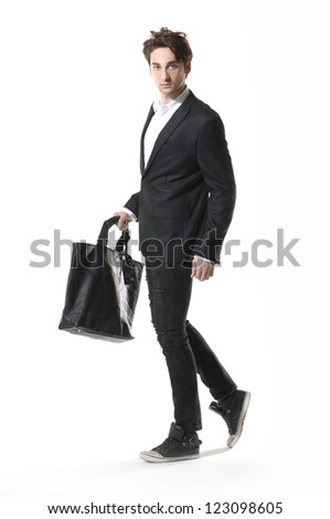 Full length young businessman man walking- full body, - stock photo