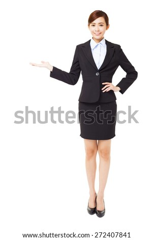 full length young  businesswoman with showing gesture - stock photo