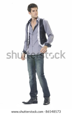 full-length young casual man portrait, isolated - stock photo