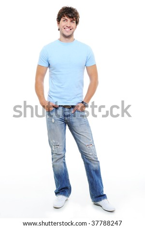 Full-lenth portrait of handsome happy smiling man - stock photo