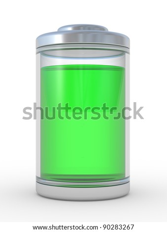 Full level of a charge of the battery. 3d an illustration on a white background - stock photo