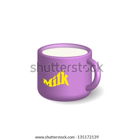 Full lilac cup with milk - stock photo