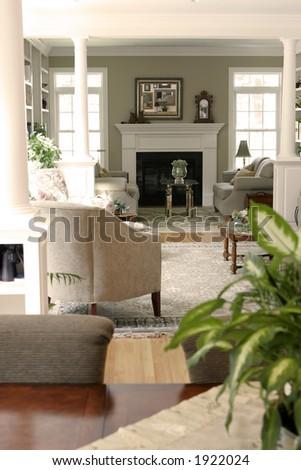 full living room view - stock photo