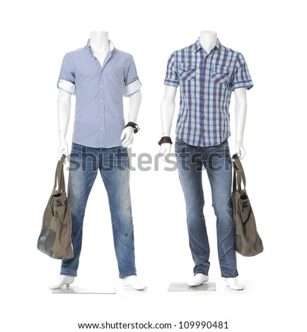 Full male mannequin dressed in in striped cotton plaid shirt t- shirt with bag