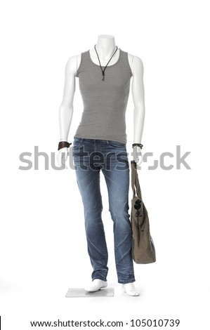 Full male mannequin dressed t-shirt with bag