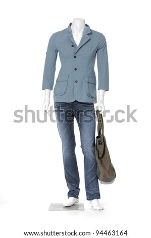 Full mannequin dressed in male clothes in jeans with bag
