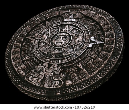Full mayan calendar from distance - stock photo