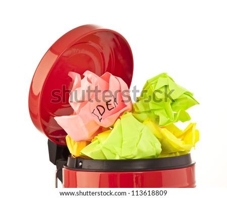 Full metal red  recycle bin - stock photo