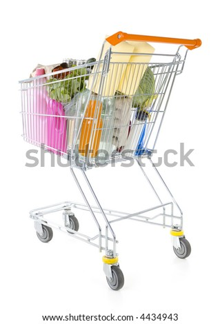 Full metallic trolley isolated on white in studio