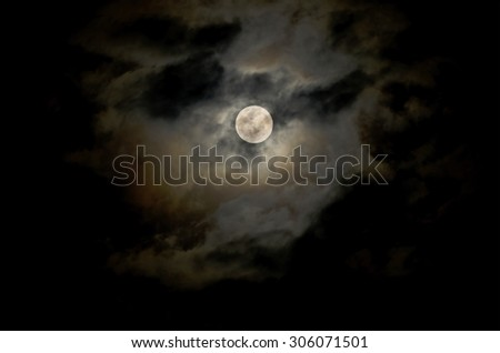 full moon and night sky with clound