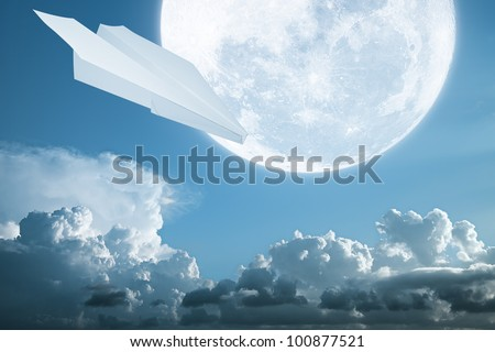 Full moon and paper plane - stock photo