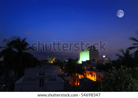 full moon and stars at night time - stock photo