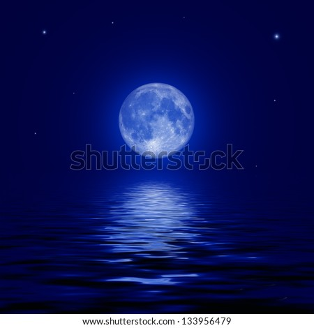 Full moon and stars reflected in the water surface. illustration. Elements of this image furnished by NASA - stock photo