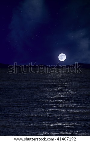 Full moon and the sea - stock photo