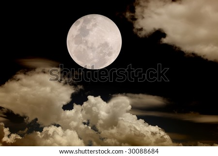 full moon at night time