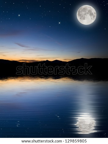 full moon background - stock photo