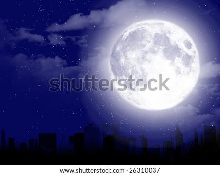 Full moon city silhouette - stock photo