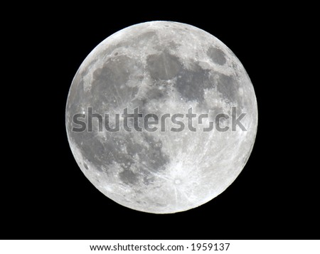 Full moon closeup showing the details of the lunar surface. - stock photo