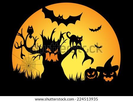 Full moon halloween night with pumpkins - Illustration - stock photo