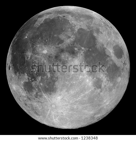 Full Moon 2004-11-26 - Highly detailed image of the full Moon taken with a 0.2-metre telescope - stock photo