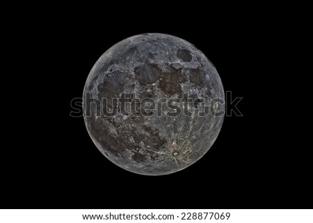 Full Moon Imaged with Narrow Band Filters - stock photo