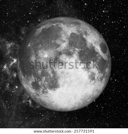 Full moon in space over stars background. Elements of this image furnished by NASA - stock photo