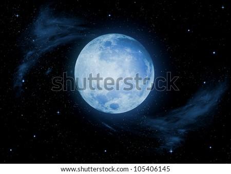 Full moon in the night black sky - stock photo