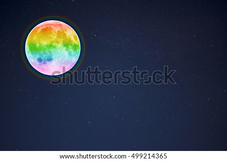 Full moon in the night starry sky background, copy space. Full moon and stars.
