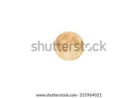 Full moon isolated on white. - stock photo