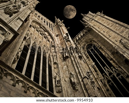 full moon night over Milan cathedral - stock photo