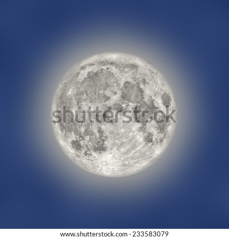 Full Moon on a midnight blue background. - stock photo