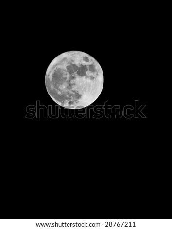 full moon on black sky - stock photo