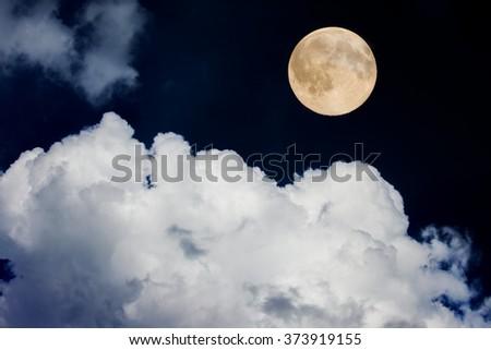 full moon on night sky - stock photo