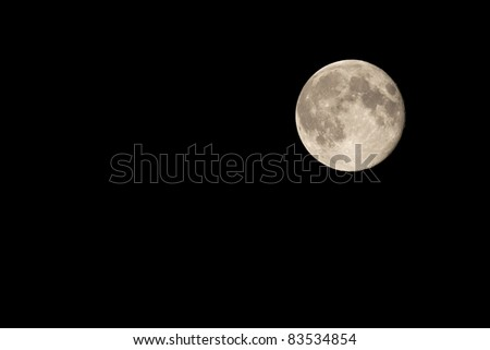 Full Moon on Night Sky Waning by One Day London August 2011 - stock photo