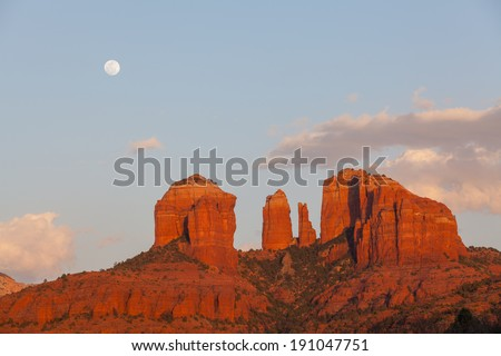 Full Moon Over Cathedral Rock Sedona Arizona - stock photo
