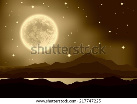 Full Moon over mountains and lake. Night landscape. Raster illustration. - stock photo