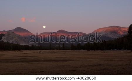 Full Moon over Tuolumne Meadows - stock photo