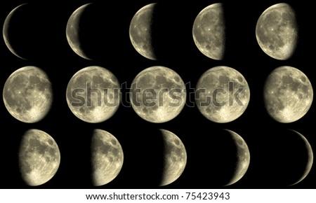 Full Moon Phases - stock photo