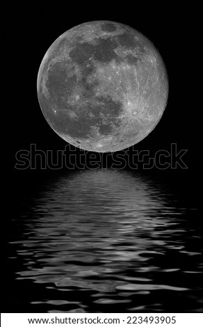 full moon, reflected on water